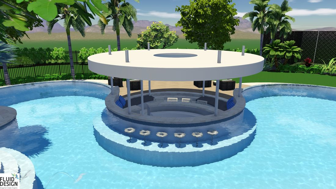 Architectural 3d rendering landscape design pool design for Creative pool design jobs